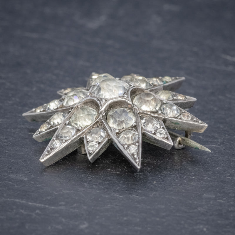 Antique French Paste Star Brooch Silver Circa 1890 SIDE