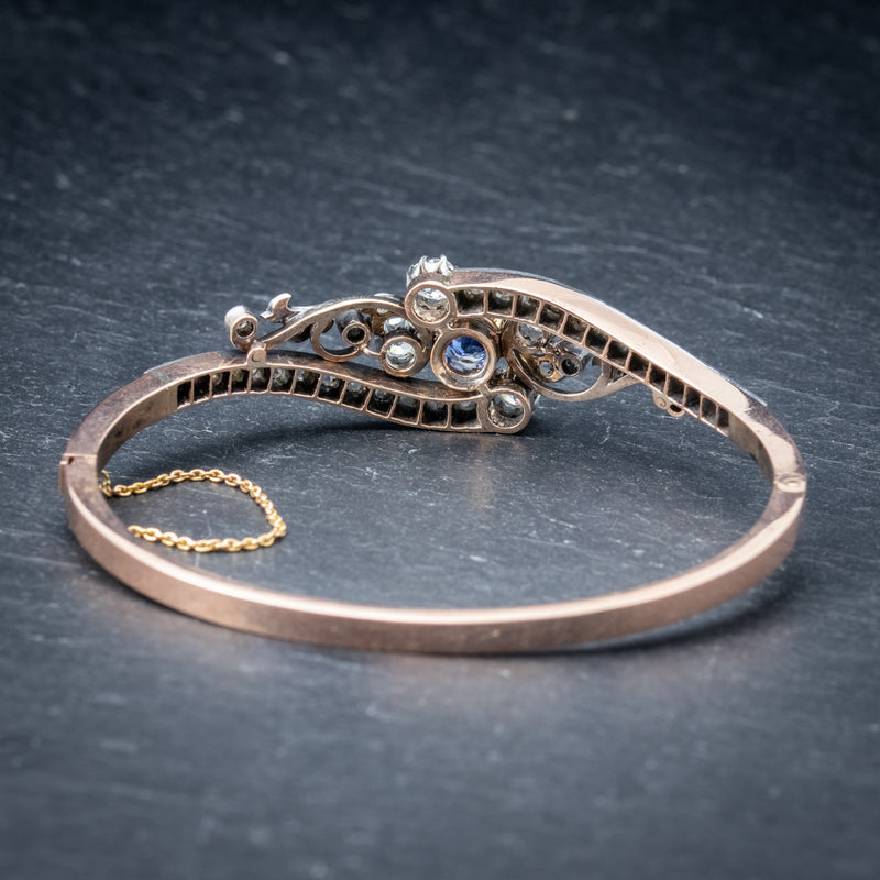 Antique French Sapphire Diamond Bangle 18ct Gold Circa 1910 Boxed BACK
