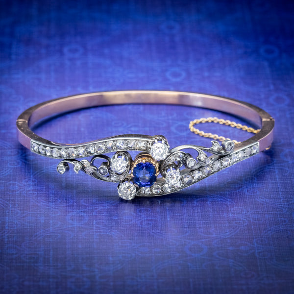 Antique French Sapphire Diamond Bangle 18ct Gold Circa 1910 Boxed COVER