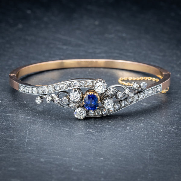 Antique French Sapphire Diamond Bangle 18ct Gold Circa 1910 Boxed FRONT