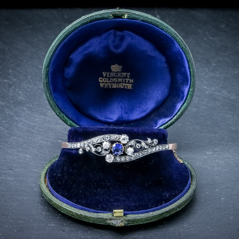 Antique French Sapphire Diamond Bangle 18ct Gold Circa 1910 Boxed OPEN