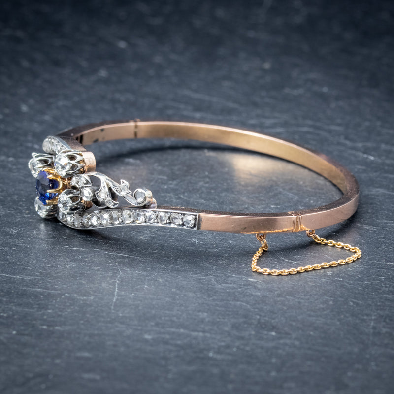 Antique French Sapphire Diamond Bangle 18ct Gold Circa 1910 Boxed SIDE