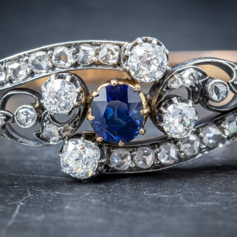 Antique French Sapphire Diamond Bangle 18ct Gold Circa 1910 Boxed STONES