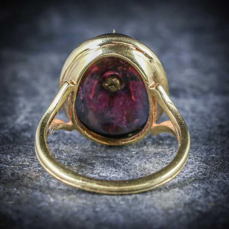 ANTIQUE GARNET RING VICTORIAN 18CT GOLD PEARL STAR CIRCA 1880 BACK