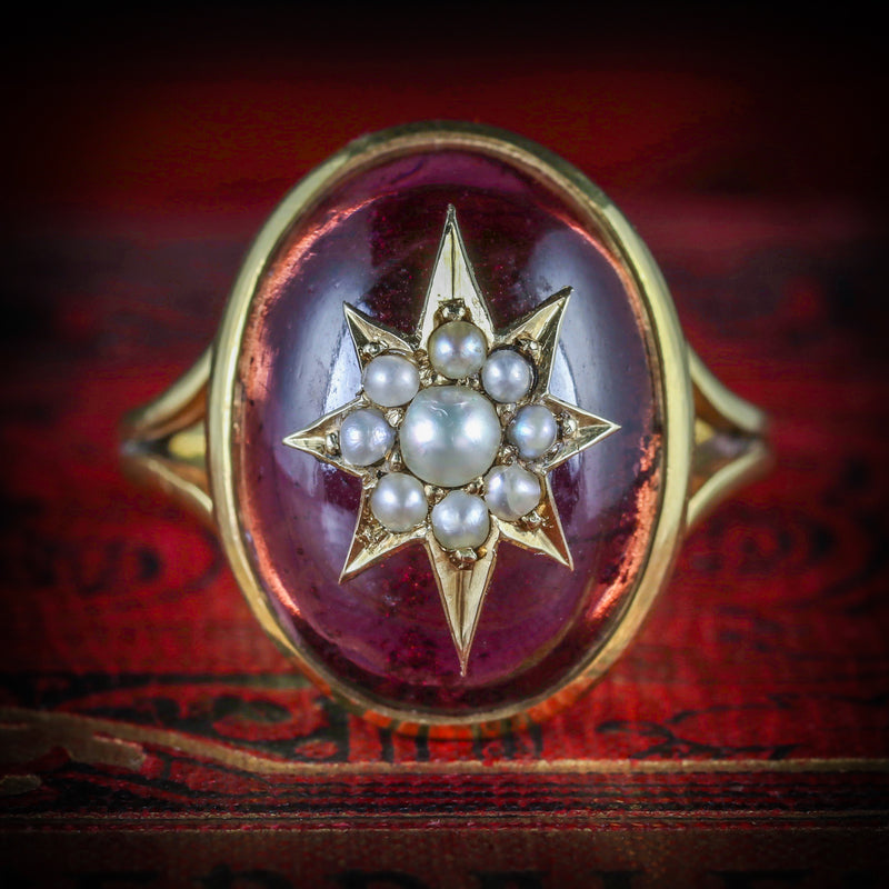 ANTIQUE GARNET RING VICTORIAN 18CT GOLD PEARL STAR CIRCA 1880 COVER