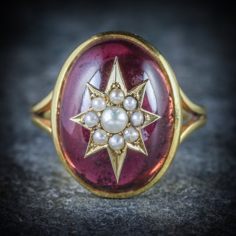 ANTIQUE GARNET RING VICTORIAN 18CT GOLD PEARL STAR CIRCA 1880 FRONT