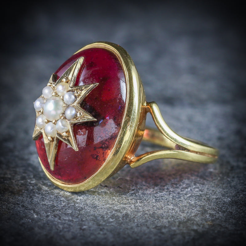 ANTIQUE GARNET RING VICTORIAN 18CT GOLD PEARL STAR CIRCA 1880 SIDE