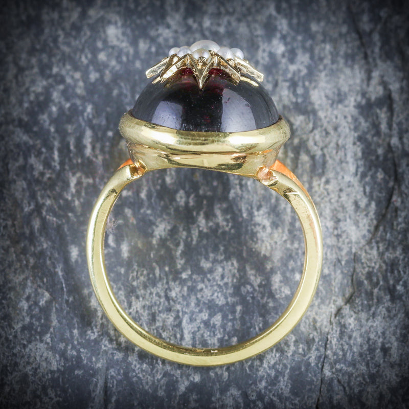 ANTIQUE GARNET RING VICTORIAN 18CT GOLD PEARL STAR CIRCA 1880 TOP