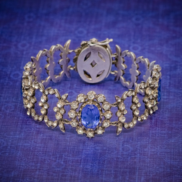 ANTIQUE GEORGIAN BLUE PASTE BRACELET SILVER CIRCA 1800 COVER