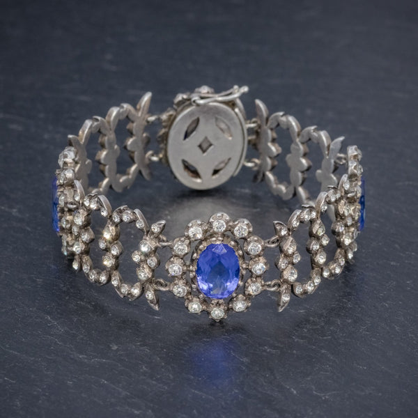 ANTIQUE GEORGIAN BLUE PASTE BRACELET SILVER CIRCA 1800 FRONT