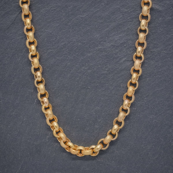 ANTIQUE GEORGIAN CABLE CHAIN NECKLACE 18CT GOLD SILVER CIRCA 1800 FRONT
