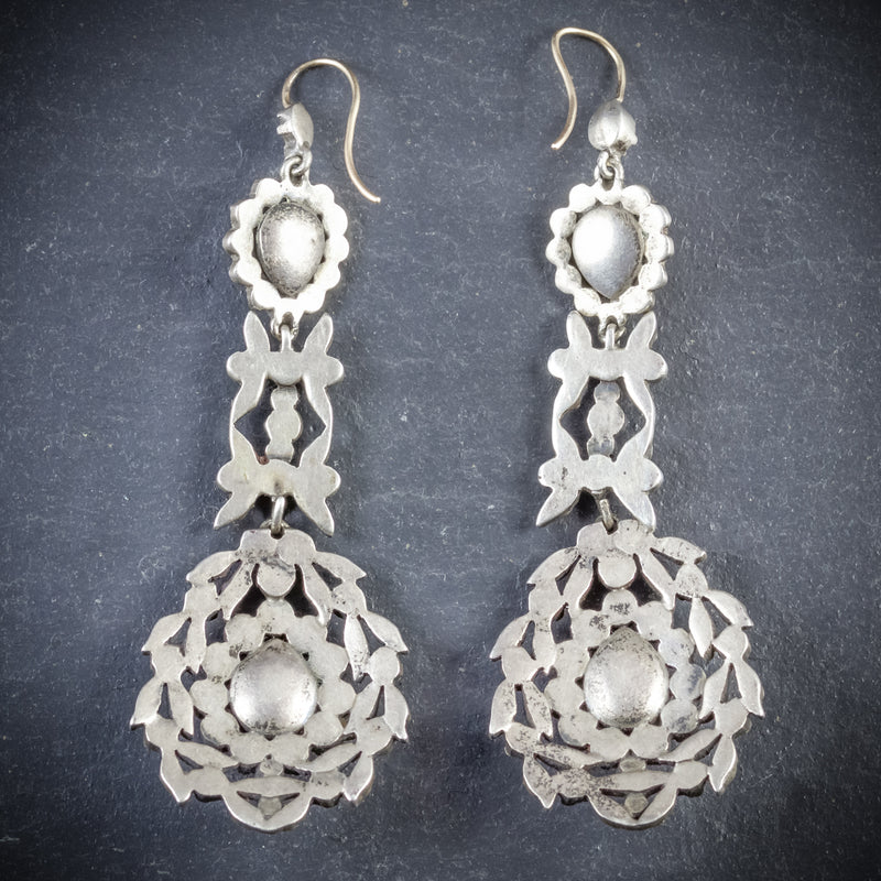 ANTIQUE GEORGIAN DROP EARRINGS PASTE SILVER CIRCA 1800 BACK