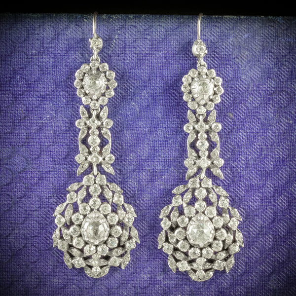 ANTIQUE GEORGIAN DROP EARRINGS PASTE SILVER CIRCA 1800 COVER