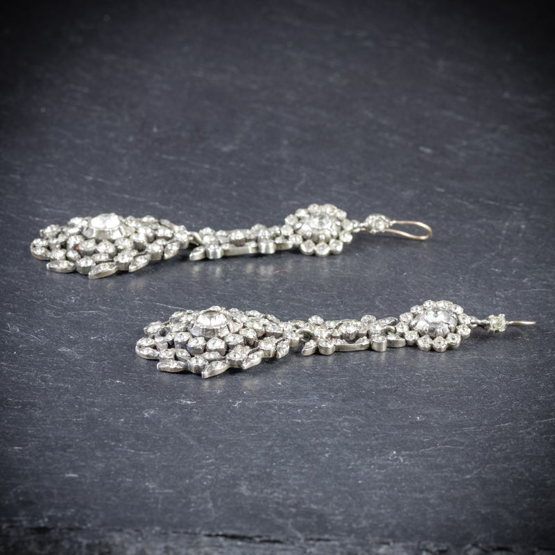 ANTIQUE GEORGIAN DROP EARRINGS PASTE SILVER CIRCA 1800 SIDE