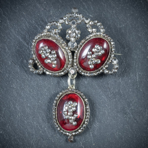 Antique Georgian Garnet Brooch Silver Circa 1780 front