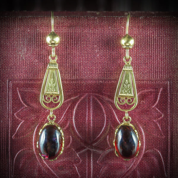 ANTIQUE GEORGIAN GARNET EARRINGS 18CT GOLD CIRCA 1800 COVER