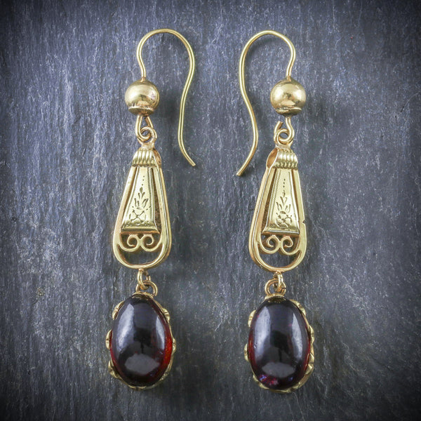 ANTIQUE GEORGIAN GARNET EARRINGS 18CT GOLD CIRCA 1800 FRONT