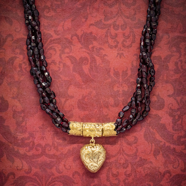 ANTIQUE GEORGIAN GARNET NECKLACE 18CT GOLD HEART LOCKET CIRCA 1800 cover