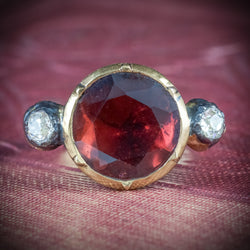 ANTIQUE GEORGIAN GARNET RING 18CT GOLD CIRCA 1800