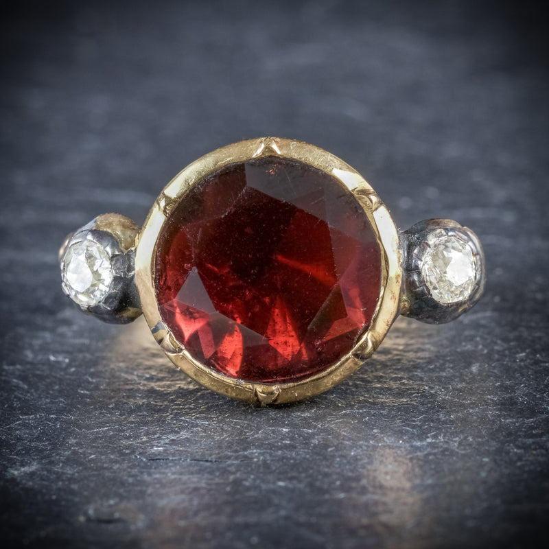 ANTIQUE GEORGIAN GARNET RING 18CT GOLD CIRCA 1800 FRONT