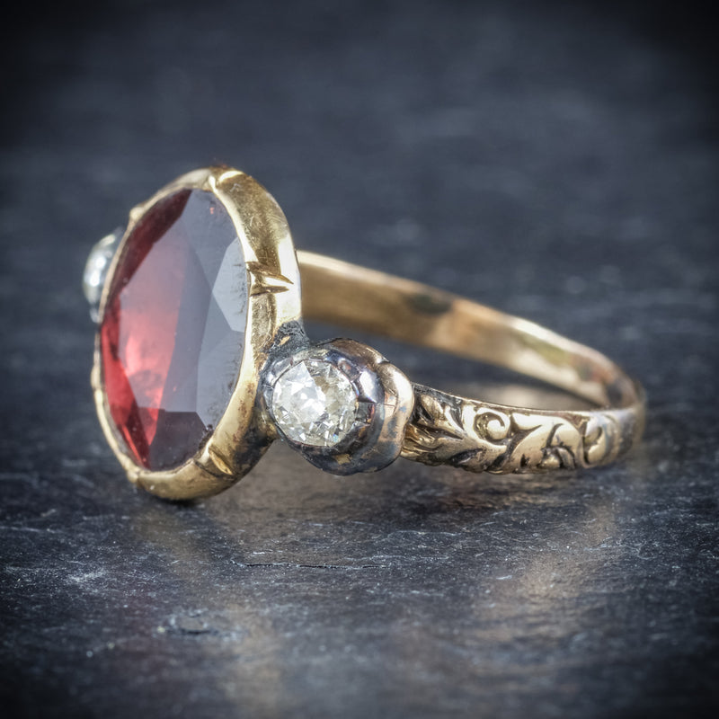 ANTIQUE GEORGIAN GARNET RING 18CT GOLD CIRCA 1800 SIDE