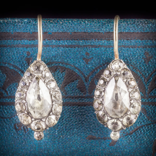 ANTIQUE GEORGIAN PASTE EARRINGS BOXED CIRCA 1800 COVER