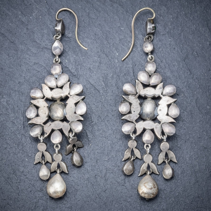 Antique Georgian Paste Stone Drop Earrings Silver Circa 1800 BACK