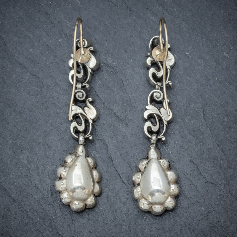 Antique Georgian Paste Stone Drop Earrings Silver Circa 1830 BACK