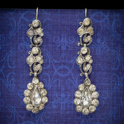 Antique Georgian Paste Stone Drop Earrings Silver Circa 1830 COVER