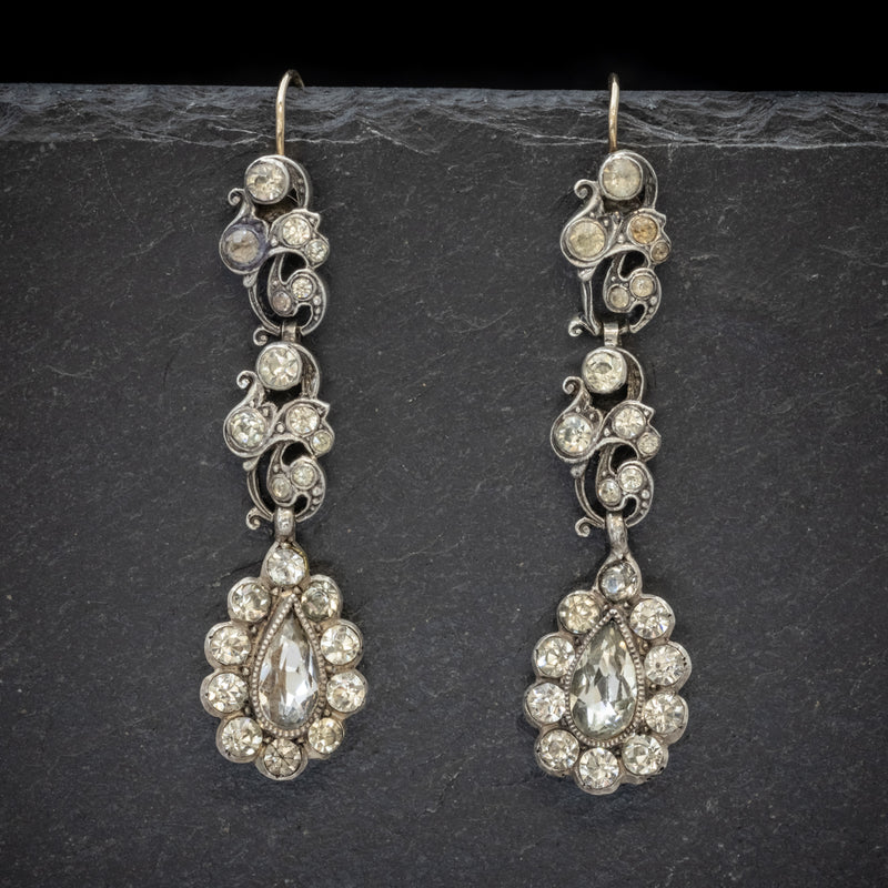 Antique Georgian Paste Stone Drop Earrings Silver Circa 1830 FRONT
