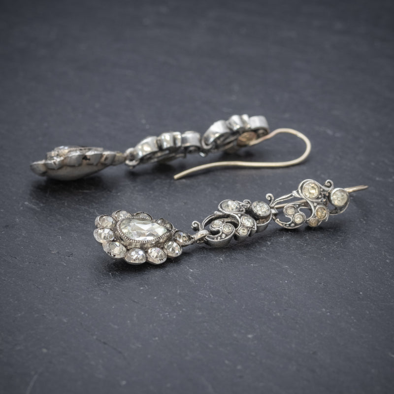 Antique Georgian Paste Stone Drop Earrings Silver Circa 1830 SIDE