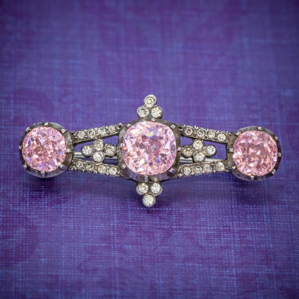 ANTIQUE GEORGIAN PINK PASTE STONE BAR BROOCH SILVER CIRCA 1800 COVER