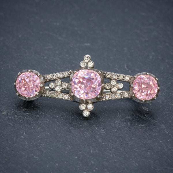 ANTIQUE GEORGIAN PINK PASTE STONE BAR BROOCH SILVER CIRCA 1800 FRONT