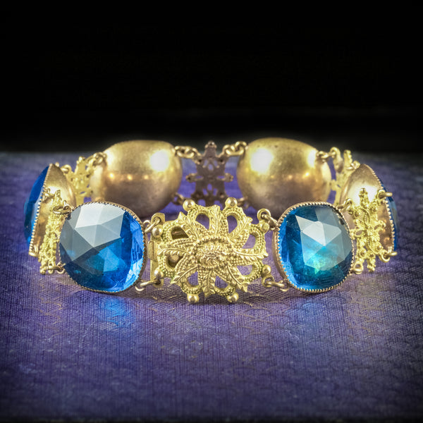 ANTIQUE GEORGIAN QUEEN ANNE BRACELET TEAL PASTE STONES CIRCA 1700 cover