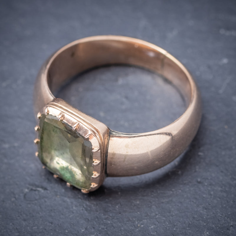 Antique Georgian Ring 18ct Gold Rock Crystal Circa 1780 top