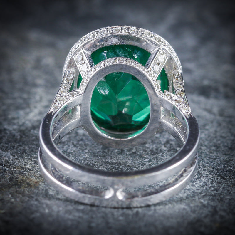 ANTIQUE GREEN SPINEL AND DIAMOND RING 18CT WHITE GOLD CIRCA 1940 BACK