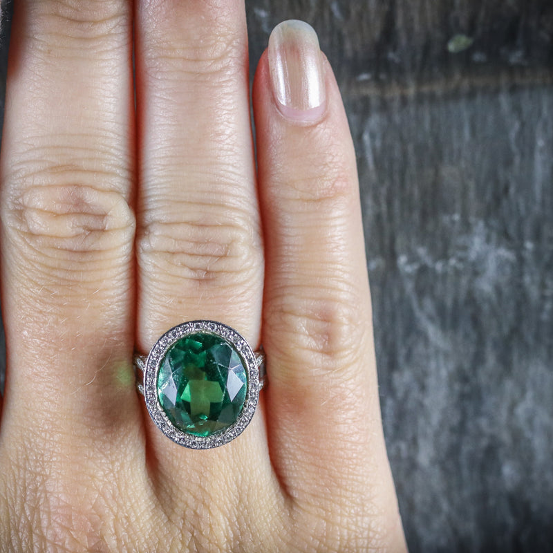 ANTIQUE GREEN SPINEL AND DIAMOND RING 18CT WHITE GOLD CIRCA 1940 TOP HAND