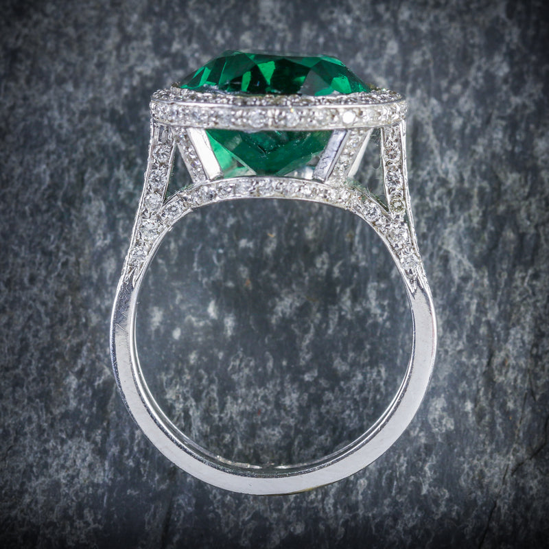 ANTIQUE GREEN SPINEL AND DIAMOND RING 18CT WHITE GOLD CIRCA 1940 TOP