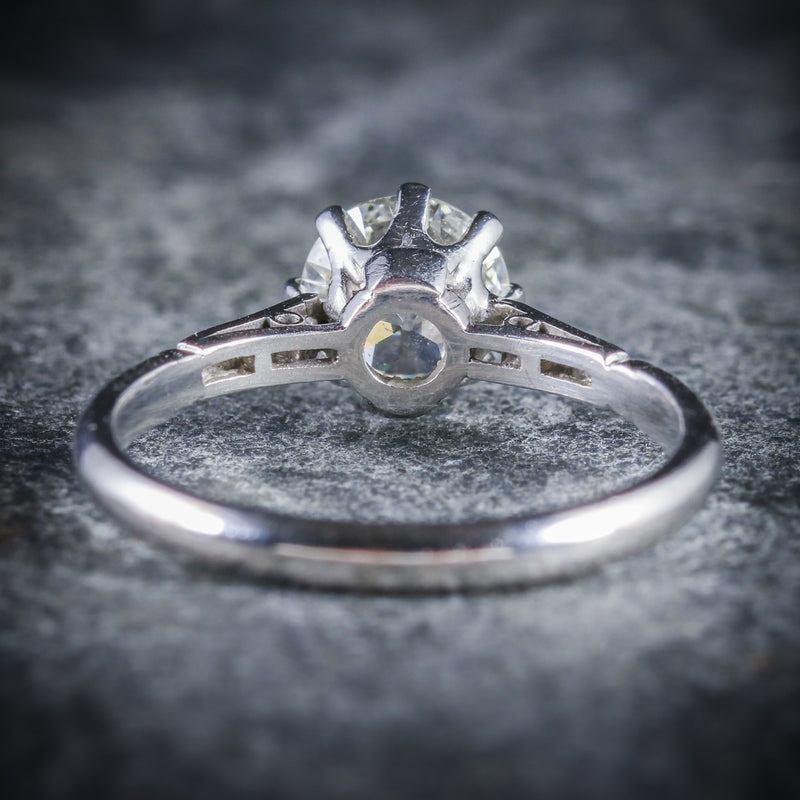 ANTIQUE PLATINUM EDWARDIAN DIAMOND ENGAGEMENT RING 1.48CT BACK