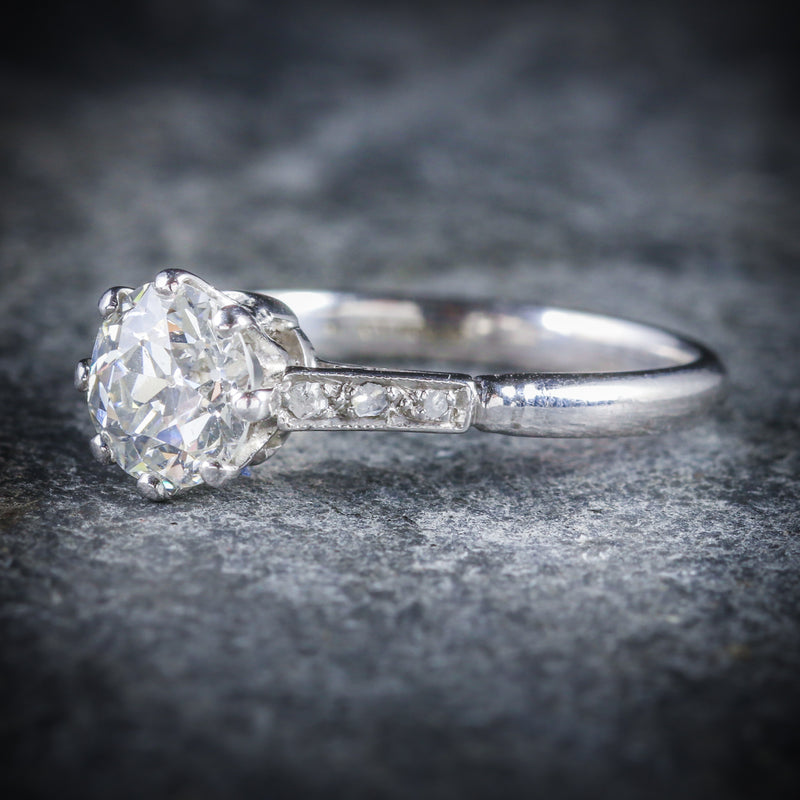 ANTIQUE PLATINUM EDWARDIAN DIAMOND ENGAGEMENT RING 1.48CT SIDE