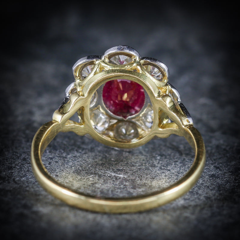 ANTIQUE RUBY & DIAMOND CLUSTER RING 18CT GOLD 1.80CT RUBY 1.20CT DIAMOND BACK