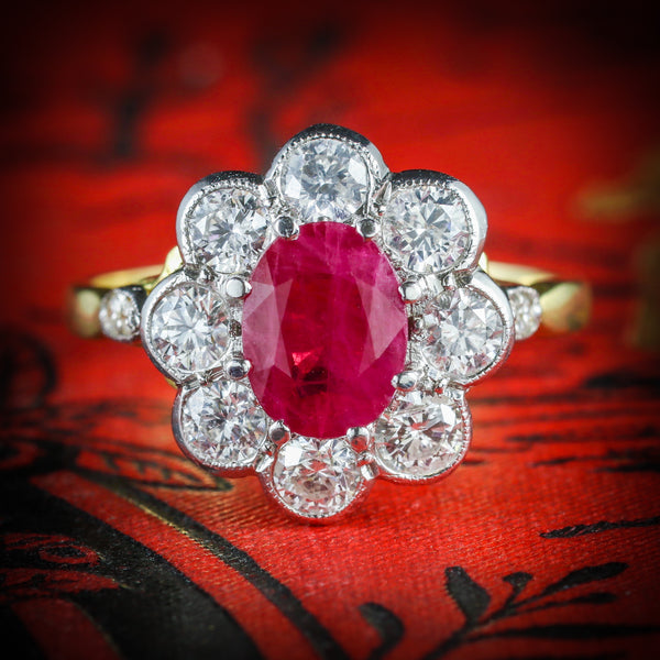 ANTIQUE RUBY & DIAMOND CLUSTER RING 18CT GOLD 1.80CT RUBY 1.20CT DIAMOND COVER