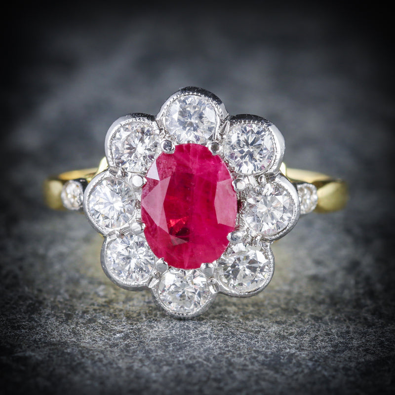 ANTIQUE RUBY & DIAMOND CLUSTER RING 18CT GOLD 1.80CT RUBY 1.20CT DIAMOND FRONT