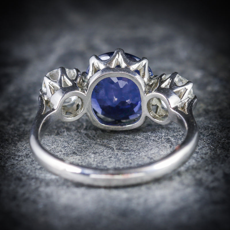 ANTIQUE SAPPHIRE DIAMOND RING 3.50CT SAPPHIRE 1.50CT DIAMOND PLATINUM TRILOGY RING BACK