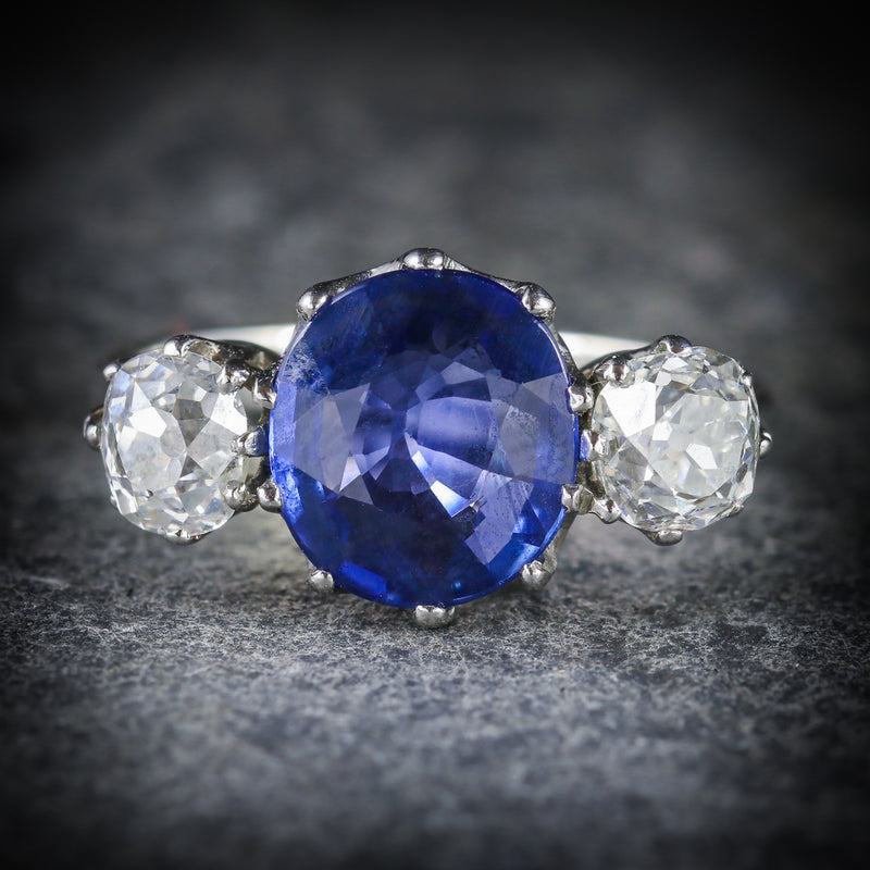 ANTIQUE SAPPHIRE DIAMOND RING 3.50CT SAPPHIRE 1.50CT DIAMOND PLATINUM TRILOGY RING FRONT