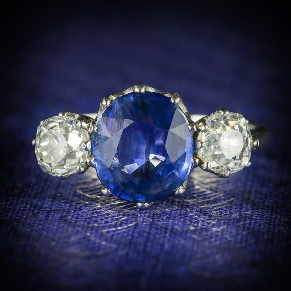 ANTIQUE SAPPHIRE DIAMOND RING 3.50CT SAPPHIRE 1.50CT DIAMOND PLATINUM TRILOGY RING COVER