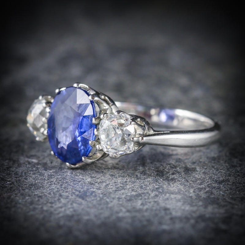 ANTIQUE SAPPHIRE DIAMOND RING 3.50CT SAPPHIRE 1.50CT DIAMOND PLATINUM TRILOGY RING SIDE