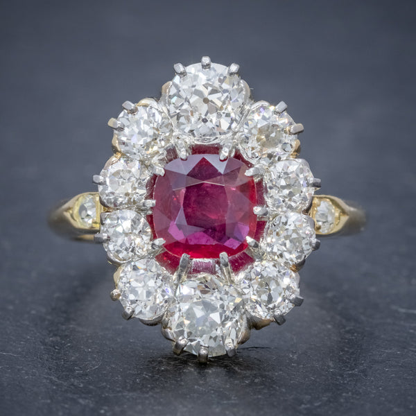 ANTIQUE VICTORIAN 1.60CT RUBY 3CT DIAMOND CLUSTER RING 18CT GOLD CIRCA 1880 FRONT