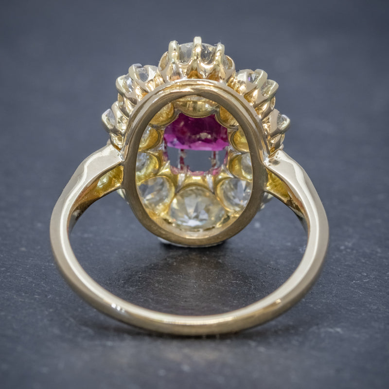ANTIQUE VICTORIAN 1.60CT RUBY 3CT DIAMOND CLUSTER RING 18CT GOLD CIRCA 1880 BACK