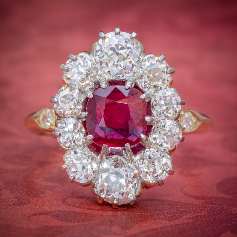 ANTIQUE VICTORIAN 1.60CT RUBY 3CT DIAMOND CLUSTER RING 18CT GOLD CIRCA 1880 COVER